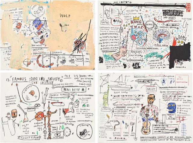 Jean-Michel Basquiat, 'Untitled Portfolio (Wolf Sausage, King Brand, Dog Leg Study and Undiscovered Genius)', 1982-2019, Taglialatella Galleries