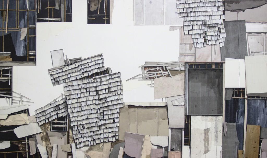 """Seth Clark, Fragments III, Collage, Charcoal, Pastel, Acrylic on Panel, 36"""" X 60"""", 2017"""