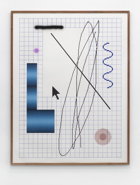 Arno Beck, 'CTRL', 2018, Drawing, Collage or other Work on Paper, Drawing, Ink, Fineliner and wood print on laid paper, Falko Alexander