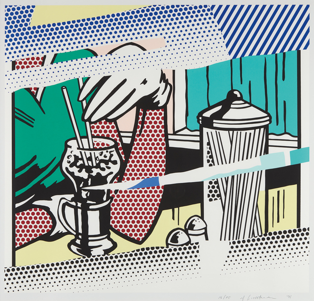 Roy Lichtenstein, 'Reflections on Soda Fountain, from The Reflection Series', 1991, Print, Screenprint in colors, on Rives BFK paper, with full margins, Phillips