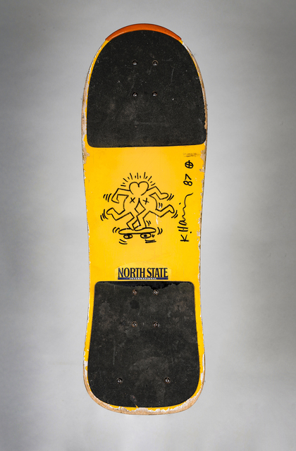 Keith Haring, 'Untitled ('Skateboard Lovers' - Knokke)', 1987, Drawing, Collage or other Work on Paper, Marker pen, skateboard, Artificial Gallery