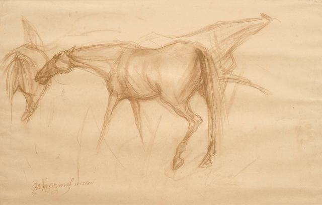 ", 'Early Horses II, Drawing, Conte on paper by Padmashree Awardee Artist ""In Stock"",' 1959, Gallery Kolkata"