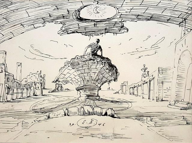 Eugene Berman, 'Man in Fantasy Landscape ', 1946, Robert Funk Fine Art