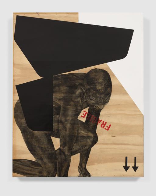 Serge Alain Nitegeka, 'Migrant: Studio Study VII', 2020, Painting, Paint and charcoal on wood, Marianne Boesky Gallery
