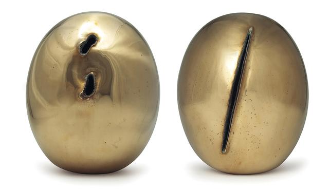 Lucio Fontana, 'Concetto Spaziale Natura', 1967, Sculpture, Polished brass, in 2 parts, Phillips