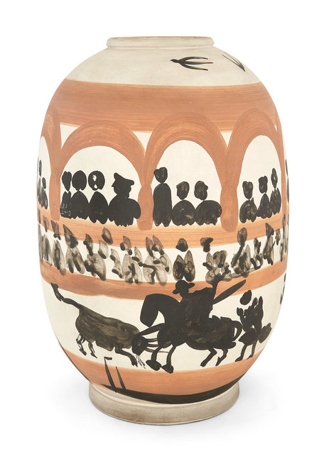 Pablo Picasso, 'Arène (A.R. 406)', 1958, Design/Decorative Art, Painted and partially glazed white ceramic vase, Doyle