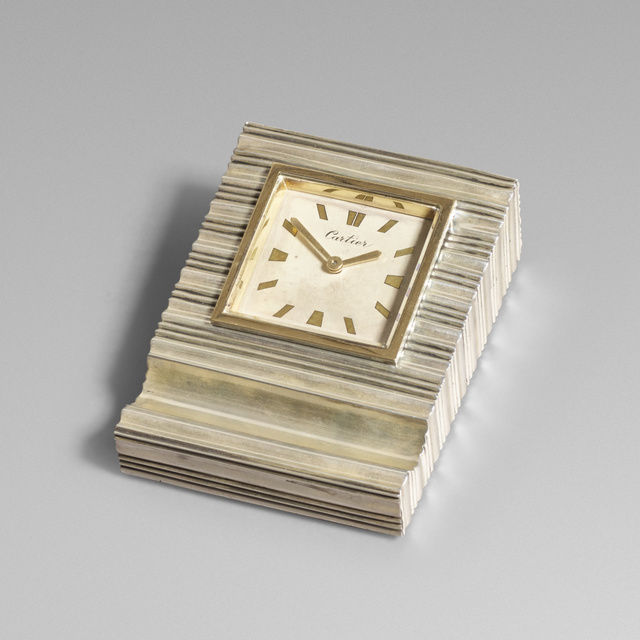 Cartier, 'Sterling silver and gold desk clock', c. 1945, Wright