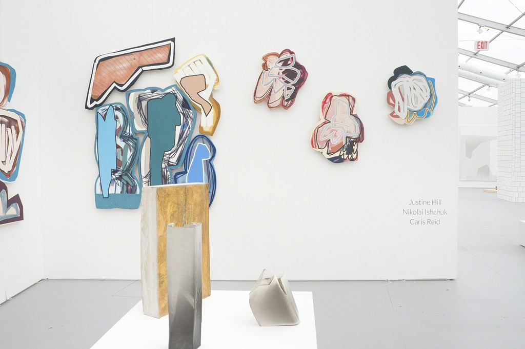 Installation view of booth B6. Justine Hill (paintings), Nikolai Ishchuk (sculptures).