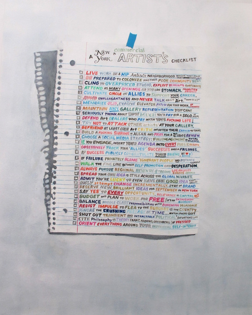 , 'A New York Artist's Checklist,' 2015, Gallery Poulsen