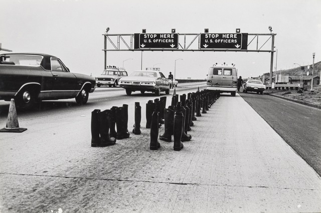 , '100 Boots At the Checkpoint, San Onofre California,' 1972, Richard Saltoun