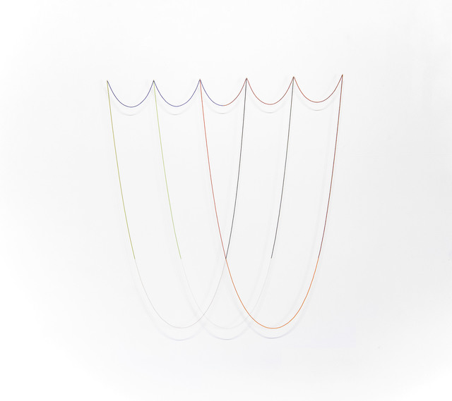 , 'Untitled (11 lengths of colored beads on 6 pins forming 3 large and 5 small catenary curves) ,' 2014, DENK Gallery