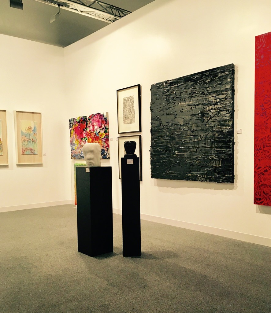 Zwang in the corner and Dachan on the left side, Connie Noyes and part of Ahmad Mualla's large red painting influenced by Nizam Qabbani poems.