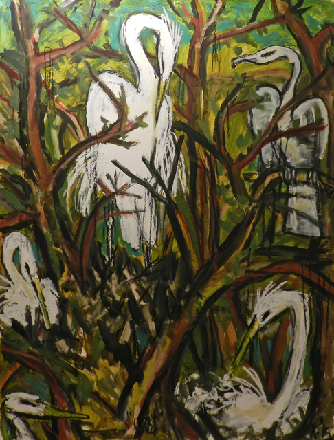 , 'Snowy Egrets and Herons,' 2015, William Campbell Contemporary Art, Inc.