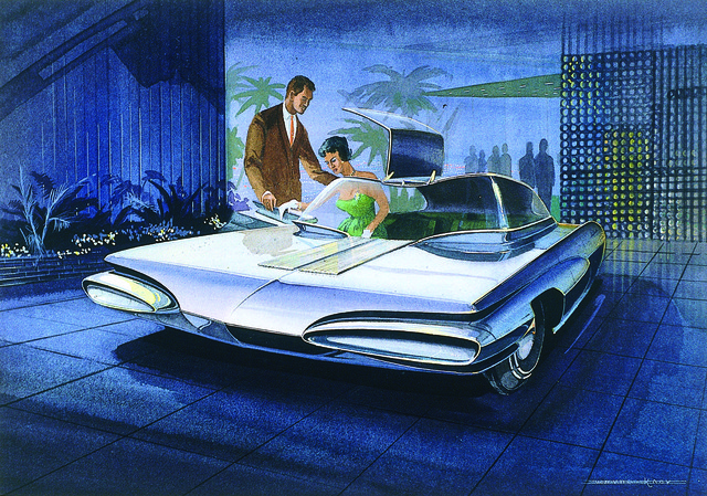 , 'Concept Gullwing with Stylish Couple,' 1960-1961, Norton Museum of Art
