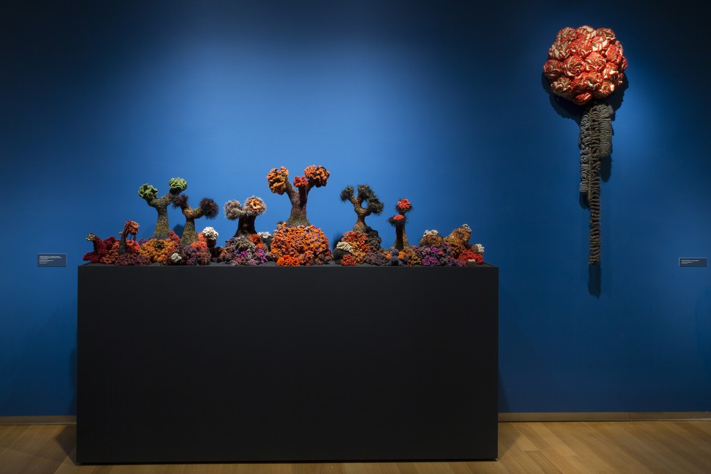 Installation view of 'Crochet Coral Reef: TOXIC SEAS', 2016. Photo by Jenna Bascom. Courtesy of the Museum of Arts and Design.