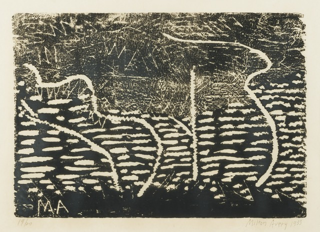 Milton Avery, 'Trees by the Sea (black)', 1953, Print, Woodcut, Childs Gallery