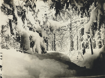 Group of 4 photographs, comprising two snowy landscapes and a pair of cloud studies