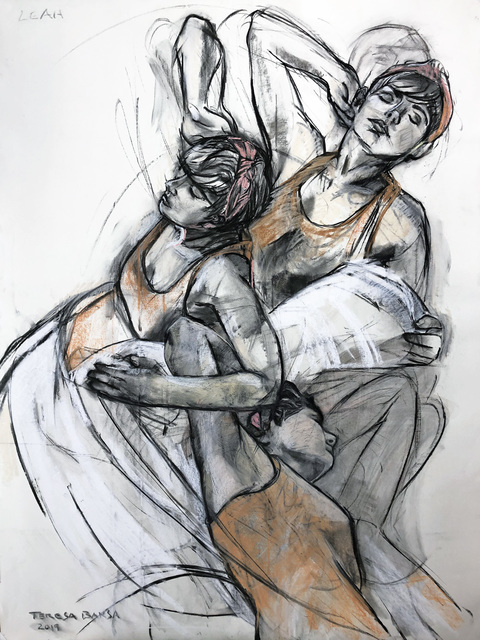 Teresa Baksa, 'Falling to Love', 2019, Drawing, Collage or other Work on Paper, Charcoal/Pastel/Paper, Miller White Fine Arts