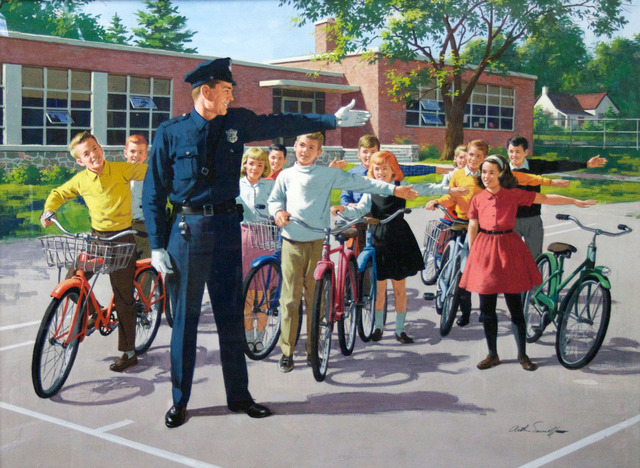 , 'Officer outside with kids ,' , Collezionando Gallery