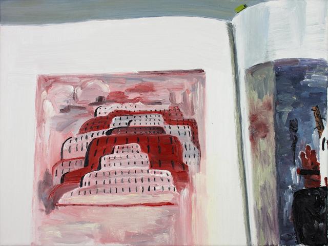 , 'Me Reading 'Philip Guston Retrospective' In My Studio,' 2017, Rokeby Gallery
