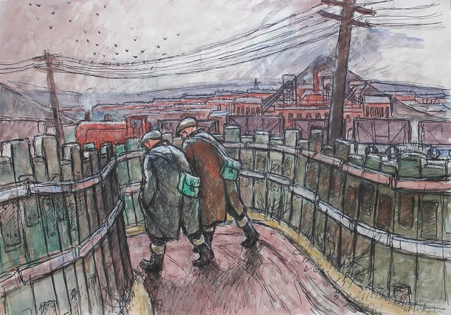 Norman Cornish, 'Men and train going to work', Castlegate House Gallery