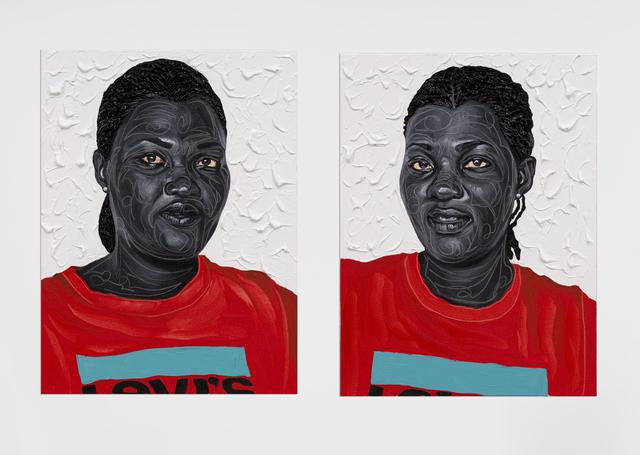 Otis Kwame Kye Quaicoe, 'Akwele & Akuoko', 2021, Painting, Oil and fabric appliqués on canvas, Roberts Projects
