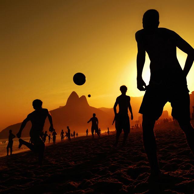 ", ' Boys play ""Altinho"" on Ipanema beach in the late afternoon,' 2013, Museu de Arte do Rio (MAR)"