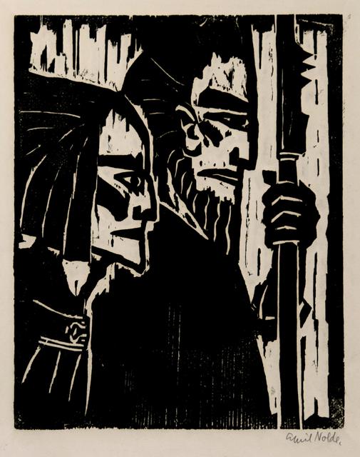 Emil Nolde, 'Ziehende Krieger (Marching Warriors', 1917, Print, Woodcut on copperplate printing cardboard., Henze & Ketterer & Triebold