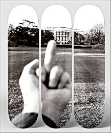 """""""F#CK! The White House. with Certificate of Authenticity Hand Signed by Ai Weiwei - (100 Days of Trump) Set of Three (3) Lt Ed Skateboard Decks, Numbered from the Limited Edition of only 66 and signed on the deck with COA hand signed by Ai Weiwei"""
