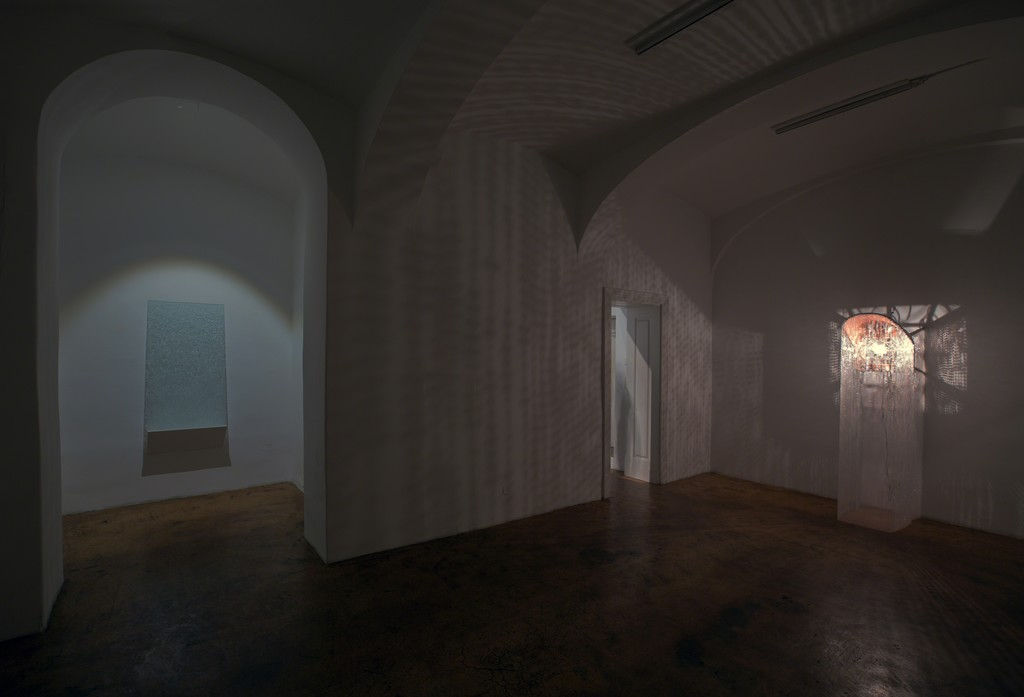Alexander Viscio YOUSEEWHATISAW, exhibition view, details: Shadow of a Prayer Rug & The Fitting Room