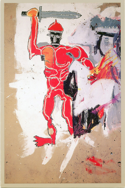 Jean-Michel Basquiat, 'Basquiat at Vrej Baghoomian 1989 (Basquiat Red Warrior) ', 1989, Lot 180