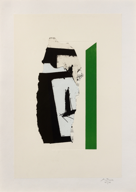Robert Motherwell, 'In White with Green Stripe', 1987, Print, Lithograph, relief print, embossing and collage, Hindman