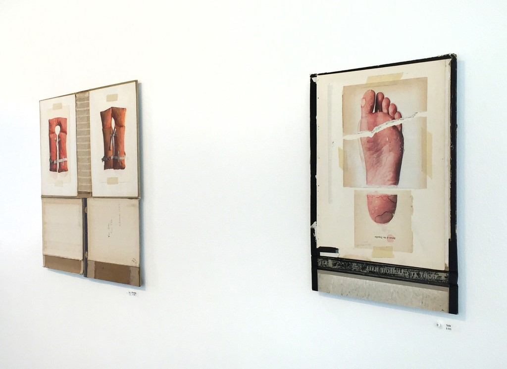 """Life Jackets"" and ""Sole"" by Dan McClain, luminous watercolor and prismacolor imagery on disassembled books"