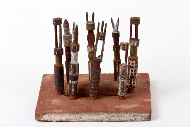 , 'Miniture Carving of a Tiwi Grave Site, with A Eight Tiwi Pukumani Grave Posts (Tudini), Tiwi people, Melville Island, Northern Territory,' ca. 1964, Tim Klingender Fine Art