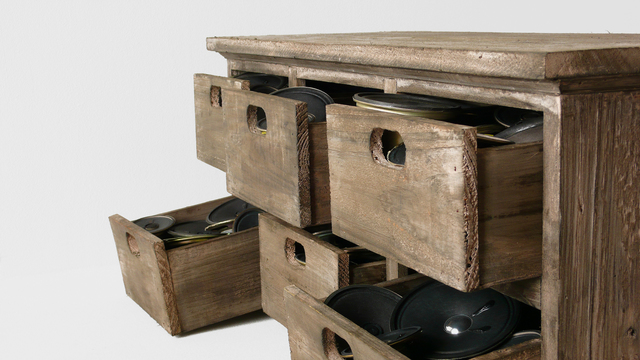 , '42 speakers in 6 drawers,' 2008, bitforms gallery