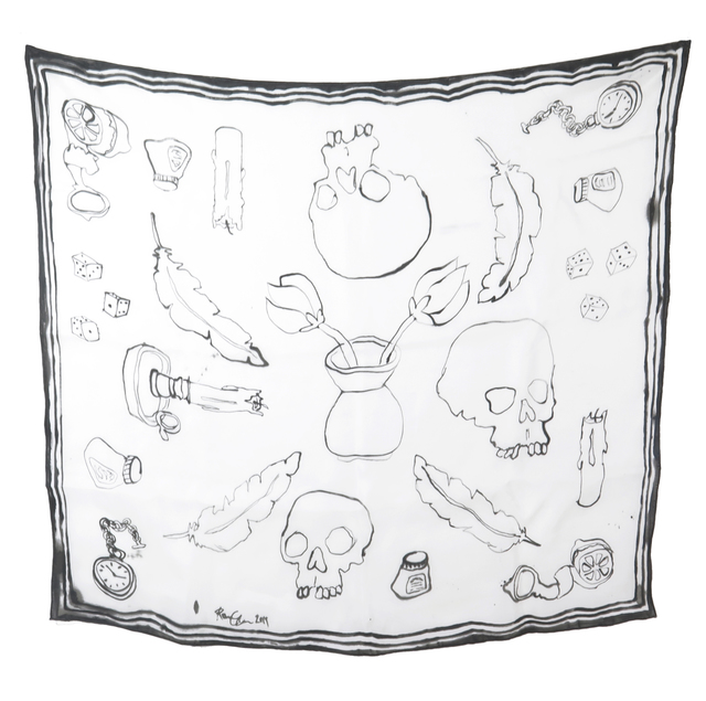 , 'Skull Scarf I - Unique handpainted silk scarf,' 2019, V1 Gallery