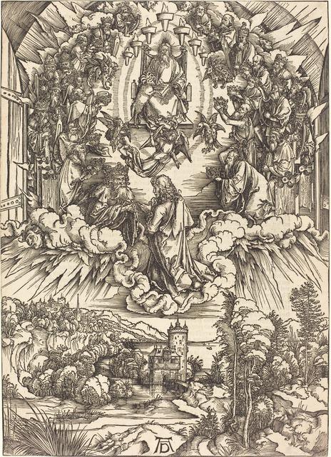 Albrecht Dürer, 'Saint John before God and the Elders', probably c. 1496/1498, Print, Woodcut, National Gallery of Art, Washington, D.C.
