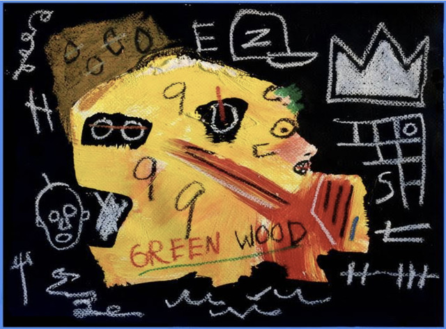 Jean-Michel Basquiat, 'Green Wood Side Profile', ca. 1980, Painting, Acrylic on Canvas, Mark West Center for the Arts