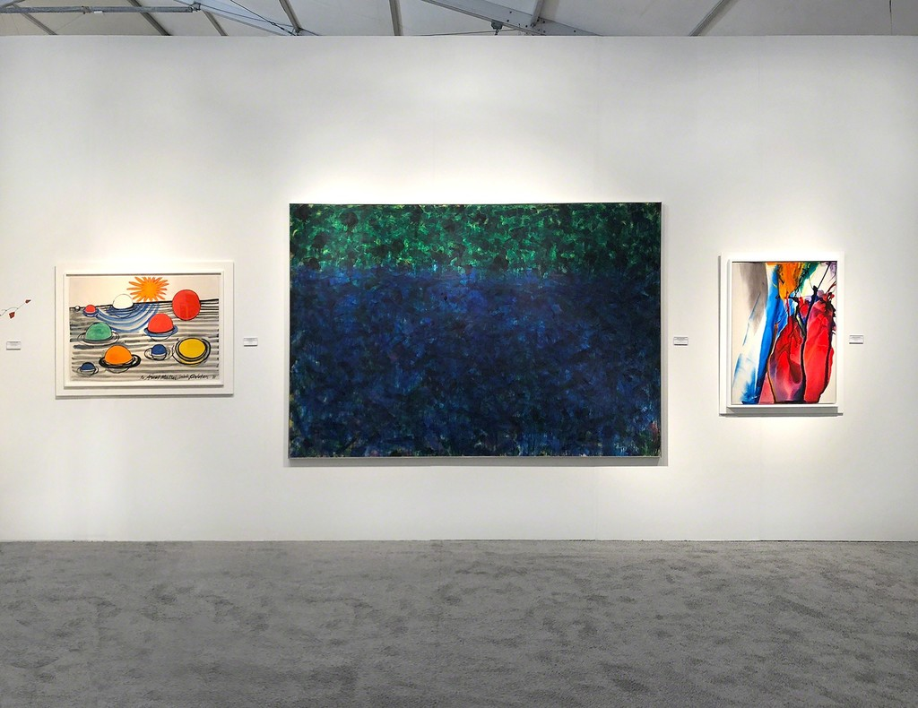Art Miami 2018, Booth 319 - Left to right: Alexander Calder, Norman Bluhm, and Paul Jenkins