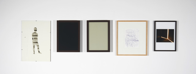 """Julião Sarmento, 'Five Frames (black and grey grey)', 2014, Drawing, Collage or other Work on Paper, Indian ink on glass and metal frame, water-based enamel on glass on wooden frame, """"bic"""" on paper on wooden frame, inkjet print on wooden frame, Galería Joan Prats"""