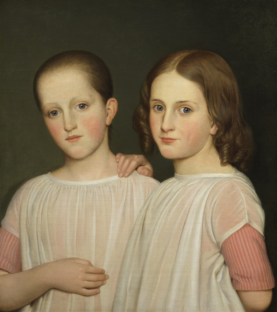 Danish School, 'Two sisters in pink striped dresses and white aprons', ca. 1840, Painting, Oil on canvas, Day & Faber