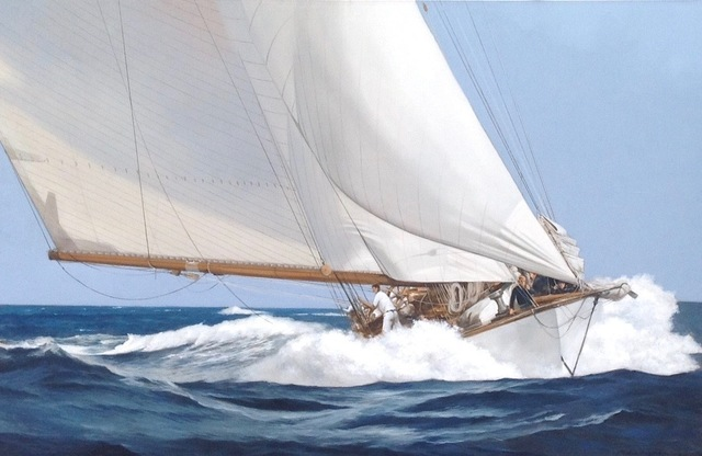 ", '""Speed & Foam"" Large Elegant oil Painting of A wooden Sailing Yacht Moving Through Waves,' 2010-2017, Eisenhauer Gallery"