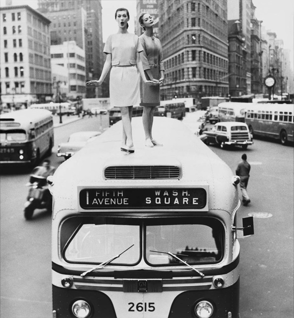 William Helburn, 'Bus Stop: Dovima and Jean Patchett, Madison Square, Harper's Bazaar', 1958, Photography, Gelatin Silver Print, Staley-Wise Gallery