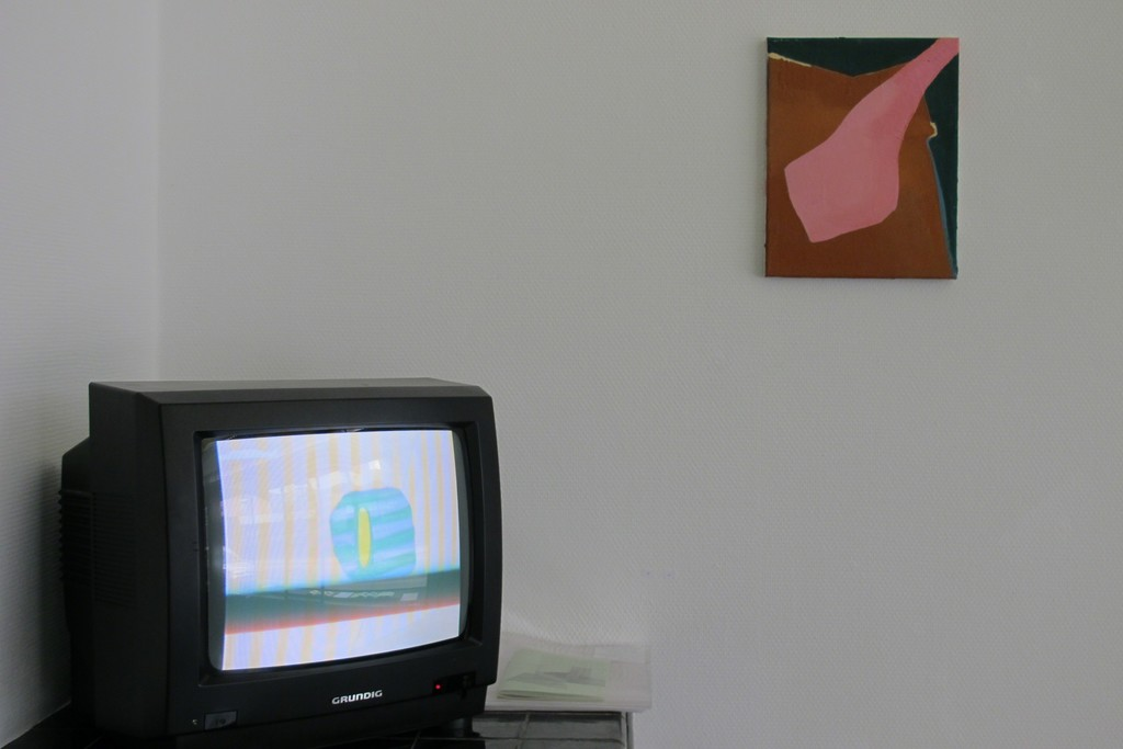 Installation shot of the solo exhibition 'Goodbye to my Imaginary Friends' with 'Porky Doll' and video animation.