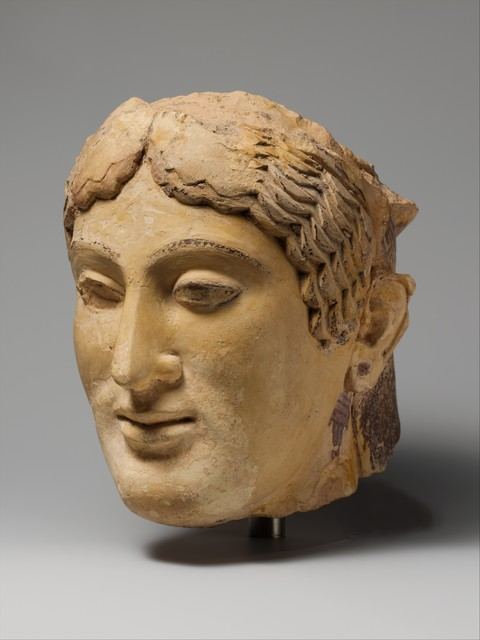 Unknown Greek, 'Terracotta head of a woman, probably a sphinx', 1st quarter of the 5th century B.C., The Metropolitan Museum of Art