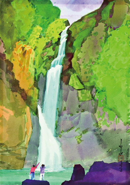 Ma Paisui 馬白水, 'Yuntan Waterfall', 1995, Painting, Color ink on papaer, Asia Art Center