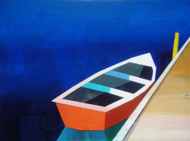 , 'Red-Orange Boat in The Bay,' 2018, Caldwell Snyder Gallery