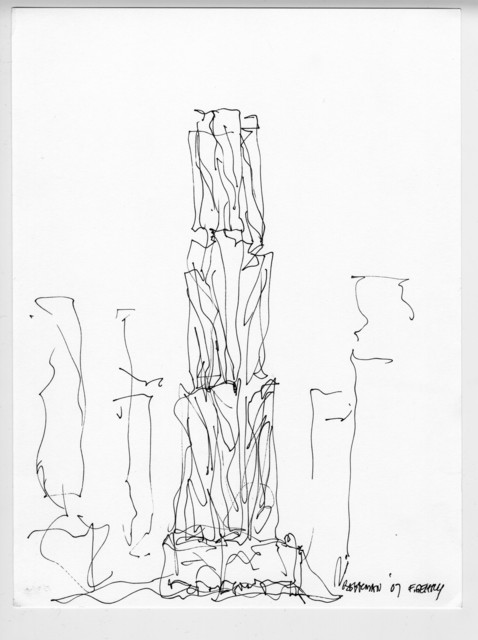 , '8 Spruce Street Design Sketch and Volume Study, New York,' 2007, Los Angeles County Museum of Art