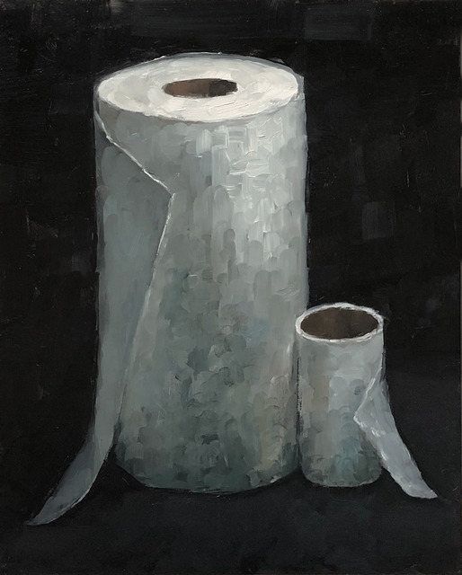 Tom Giesler, 'Health Study 19: skinny roll tp vs. fat roll pt', 2020, Painting, Oil on panel, McVarish Gallery