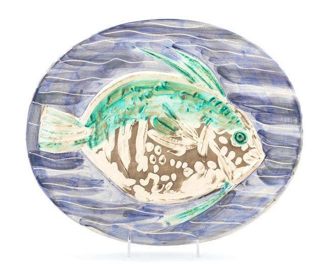 Pablo Picasso, 'Poisson bleu', 1953, Design/Decorative Art, White earthenware ceramic plate, partially engraved, with colored engobe and glaze, Hindman